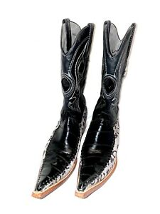 Men's Los Altos Black Authentic Eel Trendy 3X Toe Handmade Custom Boot 8.5