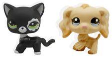 2pcs #2249 #1716 Littlest Pet Shop Cocker Spaniel Puppy Dog black cat LPS Rare