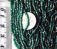 Antique Czech Glass Lustrous Green GOLD Seed Beads MASTER HANK =10Mini Hanks LOT