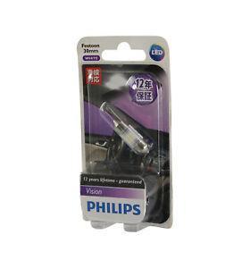 Genuine PHILIPS Vision White LED Interior Festoon 5x30mm Bulb 12V 6000K - Single