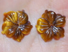 VINTAGE TIGER EYE FLOWER JACKETS FOR EARRINGS USE WITH ANY STUDS