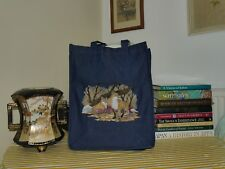 Denim/Jeans Tote Bag: Embroidered Wild Life @ Autumn Fox; Large Size