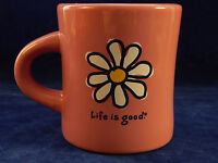 LIFE IS GOOD Flower Diner Mug Heavy Coral Do What You Like Daisy Inspirational