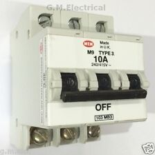 MEM 10 AMP tipo 3 TRIPLE POLE MCB INTERRUTTORE 10A Bill t103c Eaton 103 MB3 M9 DELTA
