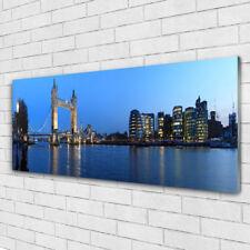 Tulup Print on Glass Wall art 125x50 Picture Image Bridge City Sea Architecture