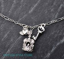 GUESS Necklace Royal Crown Charms Key Heart Wings Royalty Queen Silver Tone NEW