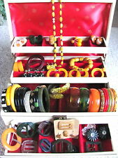 Vtg BAKELITE Jewelry CARVED DOT JUICE BRACELETS EARRINGS NECKLACE Large Lot