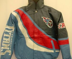 Tennessee Titans Leather Jacket NFL Reebok- Adult Large Free Ship