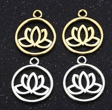 10/30Pcs Antique Metal Alloy Lotus Flower Charms Jewelry Making Charm