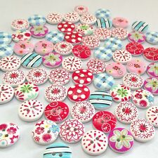 100Pcs Colorful Mixed Printing Round Shape Wood Buttons DIY Scrapbooking 2 Holes