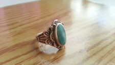 Beautiful Vintage Big Malachite Flower Ring Real 925 Sterling Silver*Size7*54S