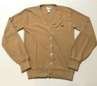 Vintage SEARS Mens Cardigan Sweater Size Large Tall Button Dragon Logo Tan Brown