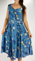JENNY FORD Blue Floral Print Sweetheart Neckline Midi Dress Size XL AU 14 Retro