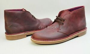 Clarks Shoes BUSHACRE 2 CHUKKA BOOTS Leather Size 13 M -AUBERGINE- -RED-