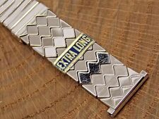 Vintage 10K white gold filled Speidel 1950s watch band 19mm stretch bracelet