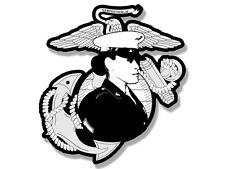 4x4 inch USMC Logo with Female Marine Shaped Sticker - woman us usmc soldier usa