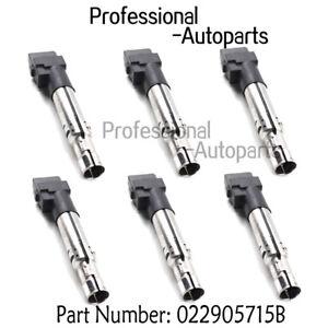 022905715B 6PCS Ignition Coils Fits VW Volkswagen EOS Touareg Audi A3 TT Quattro