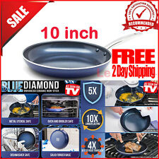 """Blue Diamond 10"""" Nonstick Frying Round Pan Toxin Free Ceramic Safe As Seen on T"""
