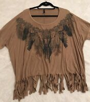 Mono B Bohemian Fringe Short Sleeve Shirt Top Blouse Size Medium Beautiful Rare