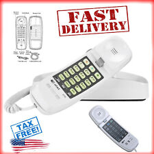 Trimline Corded Phone At&T 210M Desk Wall Mount Telephone Handset White Light Us