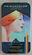 PRISMACOLOR PREMIER 12 ASSORTED COLORED PENCILS IN TIN CASE NEW