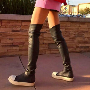 Mid Calf Women Thigh High Fashion Sneaker Boots Flat Over Knee Oxfords Punk Goth
