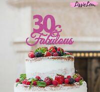 LissieLou 30 & Fabulous Cake Topper 30th Birthday Glitter Card Made in the UK