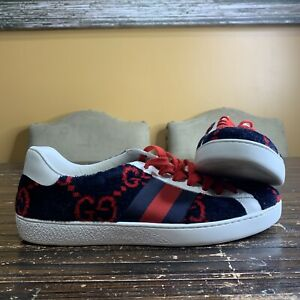 GUCCI Ace Low-Top Wool GG Monogram Sneaker Blue/Red Men's Size 8