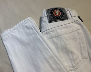 Vintage Versace Jeans Couture High Wasited White Straight Leg  Mom Jeans Medusa