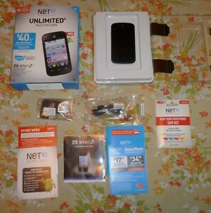 ZTE Whirl 2 Tracfone Net10 Wireless Blk Android Touchscreen Smartphone Pre-Owned