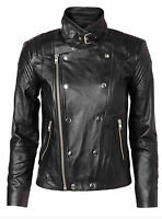 Y.A.S BONO REAL LEATHER  BLACK BIKER JACKET  Size 14  NEW TAGS
