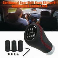 Car Gear Shift Knob Lever Leather Handle Stick 6 Speed Manual Red Stitch