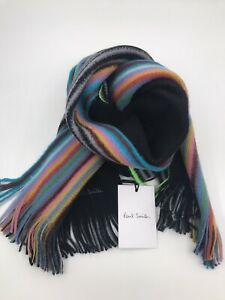 Paul Smith Men Scarf Multi Edge Double 100% Wool Made In Germany Black