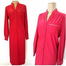 Vintage 80s Red Shirt Dress Size XLarge Straight Career Button Front Retro