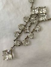Vintage Antique Art Deco Paste Crystal Glass Open Back Sterling Lariat Necklace