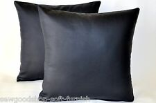 """2 Navy Blue Genuine Real Leather Cushions 16"""" 40cm with Cushion Filler Pads"""