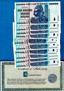 ZIMBABWE - P91 100 Trillion Dollars Consecutive etc 2008 UNC Choose your Note