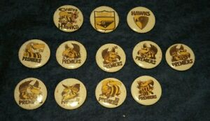 OLD! VINTAGE! 12 X AFL FOOTBALL HAWTHORN PREMIERSHIP YEAR BADGE COLLECTION!