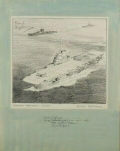 Norman Wilkinson - Original Pencil Drawing - Aircraft Carrier 'Demands Respect'.