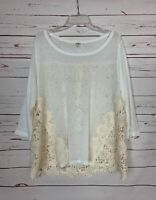 Umgee Boutique Women's M Medium White Ivory Floral Lace Spring Top Shirt Blouse