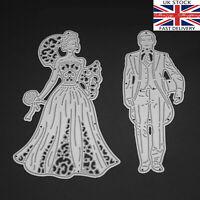 Bride & Groom wedding die set fancy metal cutting die cutter UK seller Fast Post