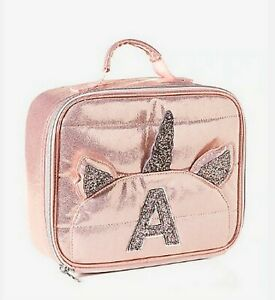 New Justice initial rose gold quilted unicorn lunch box A S H I R O T L V K