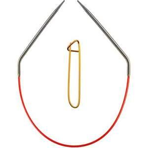 ChiaoGoo Red Circular 40in. (102cm) S. Steel Knitting Needle Sz US 6 (4mm)