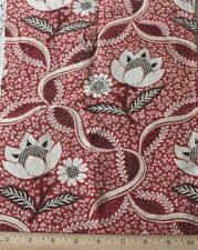 """Antique 18thC French Hand Blocked Toile de Jouy Cotton Fabric~L-19"""" X W-9"""""""