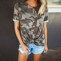 Summer Short Sleeve Women Camouflage Tee T-shirts Ladies Knotted Casual Tops