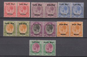 South West Africa 1920's Mint Mounted Collection to 2/6 PAIRS