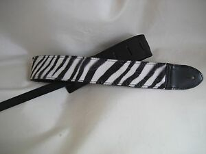 LEATHER BLACK WITH ZEBRA DESIGN BASS, ACOUSTIC GUITAR STRAP