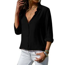 Women Fashion Casual Basic V Neck Button Up Long Sleeve Solid Blouse Shirt Tops