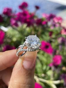 5.43 Ct White Round Diamond Split Shank Women's Ring Solid 925 Sterling Silver