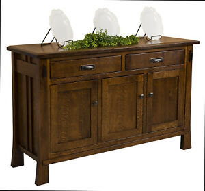 """Amish Arts & Crafts Sideboard Buffet Craftsman Mission Solid Wood Grant 61"""""""